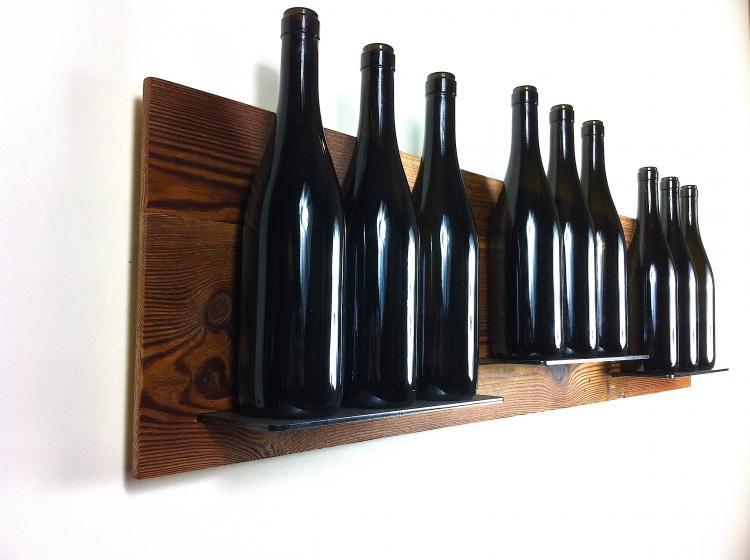 Aged fir wall portabottiglie da parete linea vino - Portabottiglie in legno da parete ...